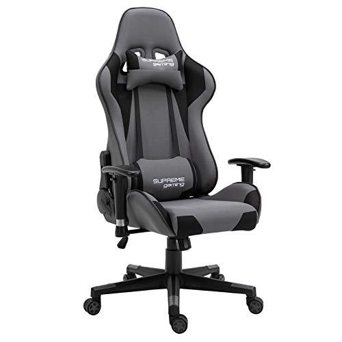 CARO-Möbel Gaming Stuhl Boost in grau/schwarz, ergonomischer Drehstuhl mit Stoffbezug, Racer Racing Bürostuhl mit verstellbaren Armlehnen