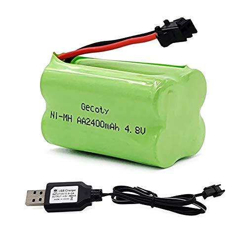 Gecoty® 4,8V 2400mAh RC Akku, NI-MH Wiederaufladbare AA Batterie Pack, mit USB Ladekabel und SM 2P-Stecker, für ferngesteuertes Spielzeug, Elektrowerkzeuge und Haushaltsgeräte