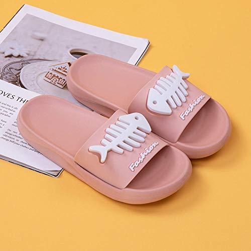XZDNYDHGX Mujeres Zapatos De Piscina,Summer Home Indoor Fish Bone Sandalias Zapatillas Mujer, Zapatos Hogar Baño Casual Hombres Rosa EU 37-38