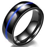 Jude Jewelers 8MM Classical Black Stainless Steel Ring Plain Wedding Band (Black Blue, 5)