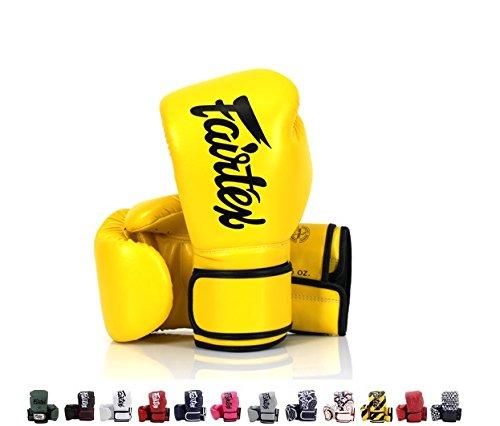 Fairtex Muay Thai Guantes de Boxeo BGV11F día & bgv14tamaño 10121416oz, Amarillo