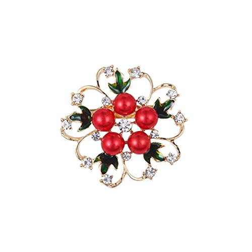 Bleyoum Brooch Summer Assorted Colors Red Green Pink White Simulated Pearl Flower Brooch for Women Or Girls