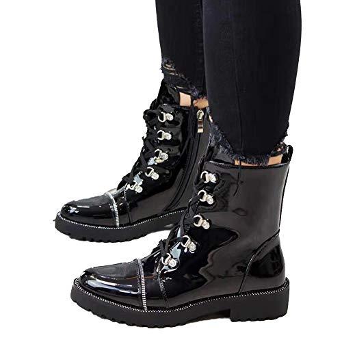 Womens Laarzen Rits Aan De Zijkant Leer Veterlaarzen Outdoor Non-Slip Mode Bright Zwarte Laarsjes Herfst Winter,Black,36 EU