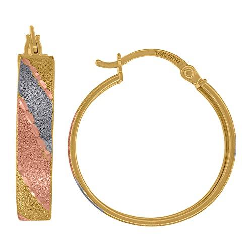 Pendientes de aro con bisagras de oro de 14 quilates con tres colores, 23 mm, para mujer