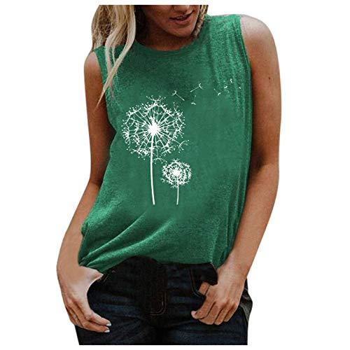 XUEbing Camiseta casual de verano sin mangas para mujer sin mangas con estampado de letra O cuello túnica blusa suelta ajuste