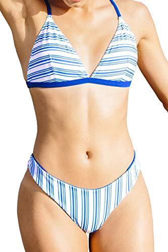 CUPSHE Women's Striped Bikinis Set Sporty Blue, XL