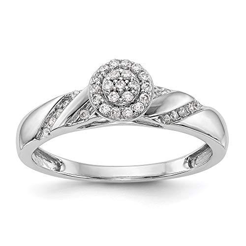 14k White Gold Complete Diamond Trio Cluster Engagement Ring, Size 54