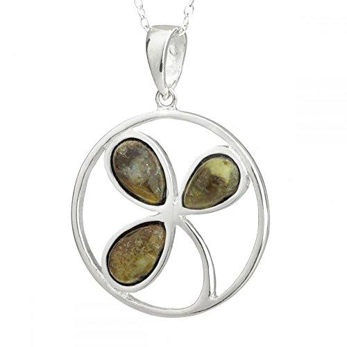 Round Irish Shamrock - Irische Kleeblatt Kette - Sterling Silber & Connemara Marmor