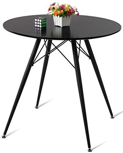 DORAFAIR Runder Esstisch Schwarzer Beistelltisch,MDF Küchentisch mit Schwarz lackierte Eisenbeine und Rahmen, 80 * 75cm