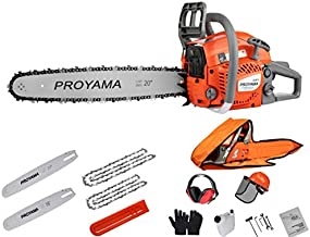 PROYAMA 48CC 16-inch 20-inch 2IN1 Gas Powered Chainsaw with Carrying Case, Orange/Gray