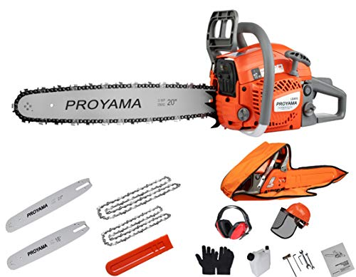 PROYAMA 46CC 16-inch 20-inch 2IN1 Gas Powered Chainsaw with Carrying Case, Orange/Gray NEW ARRIVAL