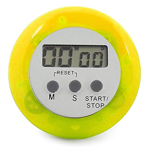 ENERGY01 - Temporizador digital de cocina magnético con alarma sonora, pantalla LCD, color amarillo