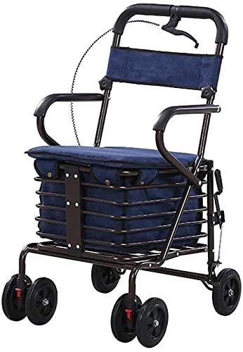 AWJ Rollator Walker, Lightweight Steel Pipe Folding Four Wheel with Padded Seat Carry Basket Walking aid