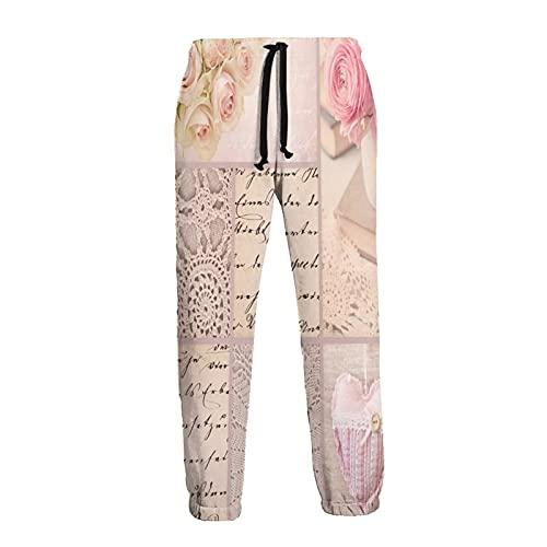 Herren Jogginghose Pink Rose Romantisch...