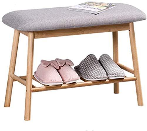 Wddwarmhome Tallador de Zapatos nórdicos Simple Moderno Hogar Cabina de zapatería Tela Banco de Almacenamiento Bambú Puerta de Taburete de Almacenamiento de Madera Maciza Puede Sentarse Zapatos Banco
