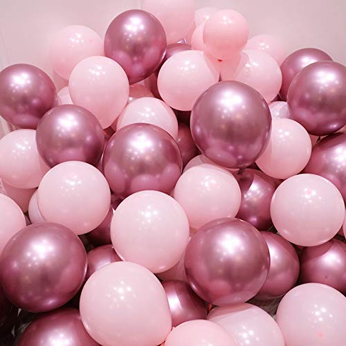 Erosion Rosa und goldene Luftballons, 50 Stück Hellrosa Luftballons Pastellrosa Luftballons Goldmetallische Luftballons für Partydekorationen, Weihnachtsschmuck, Geburtstage, Brautparty