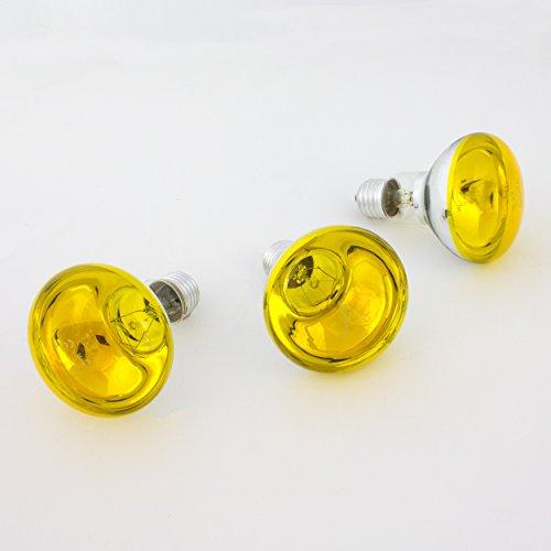 showking Set 3xfarbige Lampe R80 230V / 60W zur Partybeleuchtung, Sockel E - 27, gelb - Farbleuchtmittel - Partybeleuchtung