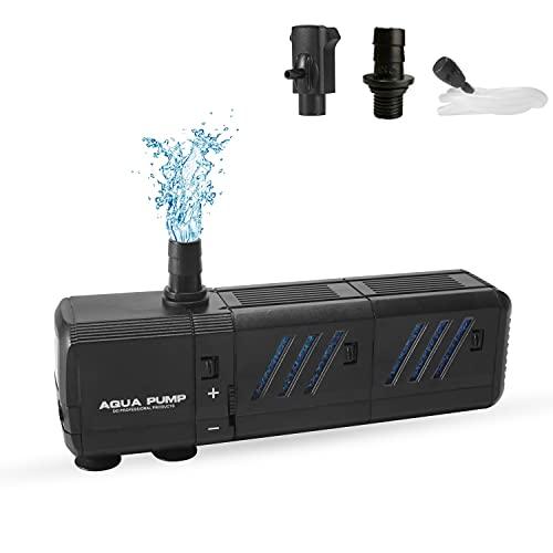 Insputer 800L/H Filtre Interne d'Aquarium 8W Pompe Eau Submersible Aquarium Pump Ajustable avec Filtres à 2 sections pour Aquarium 150-300L