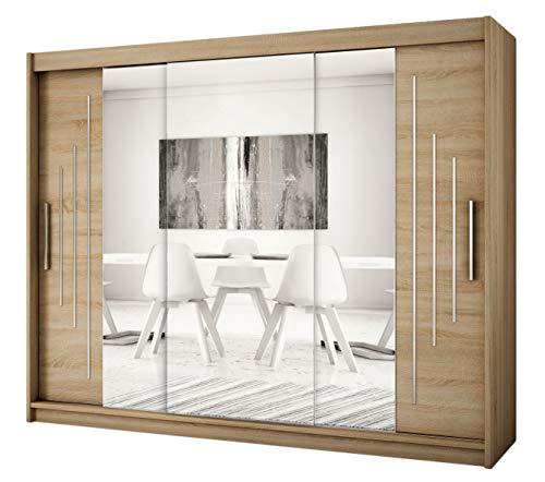 Kryspol Schwebetürenschrank York 2-250 cm mit Spiegel Kleiderschrank mit Kleiderstange und Einlegeboden Schlafzimmer- Wohnzimmerschrank Schiebetüren Modern Design (Sonoma)