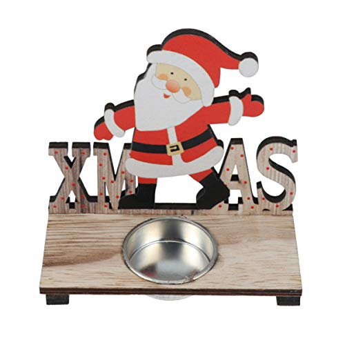Holibanna Portavelas Navideñas de Madera Candelabros de Navidad Candelabros de Santa Claus...