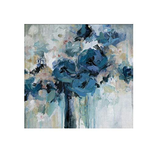 Gymqian Acuarela Flores Azules Pintura en Lienzo Carteles e Impresiones Abstractos Modernos Cuadros artísticos de Pared para la decoración del hogar de la Sala de Estar 90x90cm sin Marco