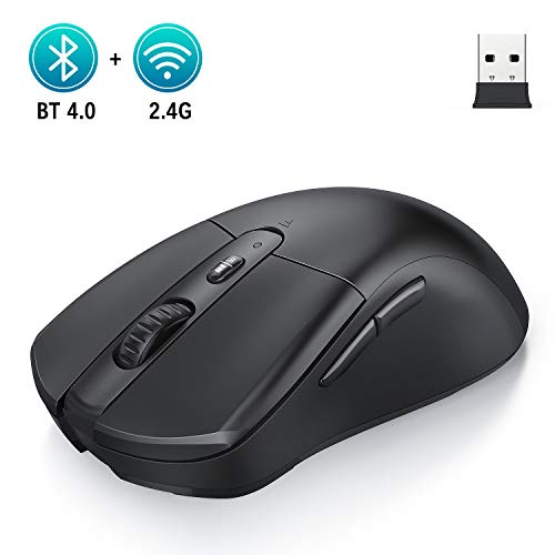 Jelly Comb Bluetooth und 2.4G Kabellose Maus, Dual Modus Funkmaus DPI 1000/1600/2400 Einstellbar, Computermaus für Laptop/PC/Tablet/Handy, Windows/Android/Mac OS, Schwarz