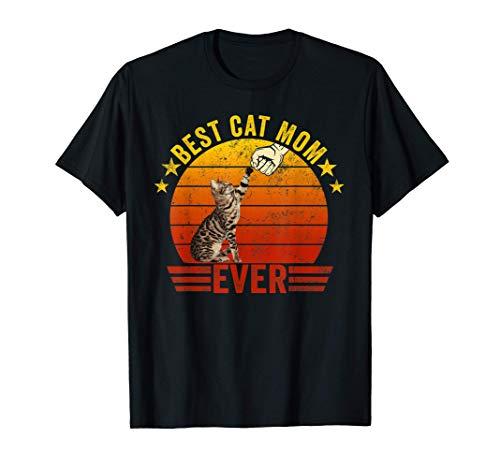 Best Cat Mom Ever Vintage Frase Graciosa En Inglés Camiseta
