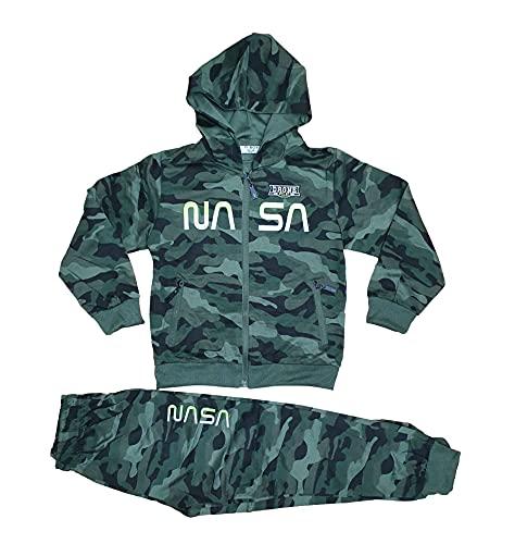 Jungen Camouflage Jogginganzug Trainingsanzug Sportanzug Jacke Hose Kombi Set (Neon Grün, numeric_146)