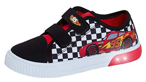 Disney Cars Light Up Canvas Pumps Sport Turnschuhe Lightning McQueen Skate Schuhe mit blinkenden Lichtern, Schwarz , 30 EU