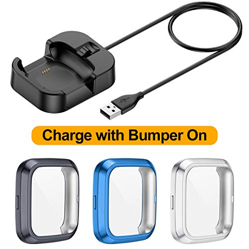 EZCO Screen Protectors Plus Charger Compatible with Fitbit Versa 2 (Not for Versa), Can Charge with Bumper Case On, [3+1 Pack] Exclusive Charging Cable Dock Soft TPU Case Cover Frame for Versa 2 Watch