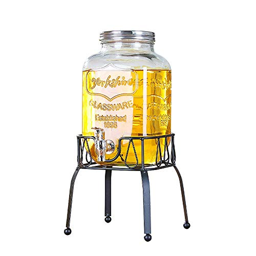 FMOGE Mason Jar Glass Beverage Dispenser with Glass Lid, Glassware for Water, Juice, Beer, Wine, Liquor, Best Cold Drinks, 4L/5L/8L,Wine Cabinets