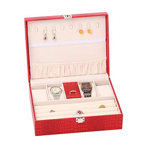 SYXLNNYYZM Cajas de joyería Caja de joyería de múltiples Capas de Cuero PU Caja de Adorno portátil de Madera