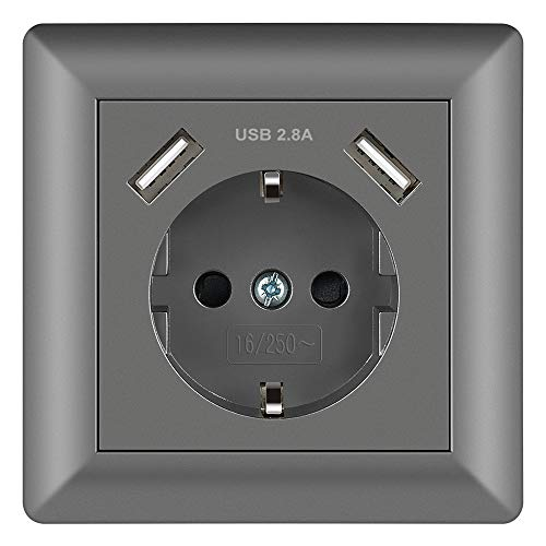 Enchufe Gris 2.8A Schuko Enchufe de pared con USB Toma Corriente pared Enchufe Empotrado Superficie para Cocina, Dormitorio, Oficina, Hotel, etc