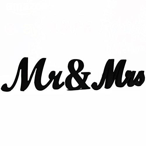 Pixnor Décoration de mariage MR et MRS de lettres en bois (noir)