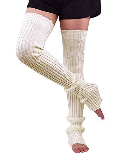 Nanxson Damen Stulpen Lange Gestrickt Beinwärmer Winter Beinstulpen Strumpf für Ballett Fitness Yoga (L, creme weiß)