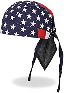 Hot Leathers Authentic Bikers Premium Headwraps, AMERICAN FLAG - High Quality Micro-Fiber & Mesh Lining HEADWRAP
