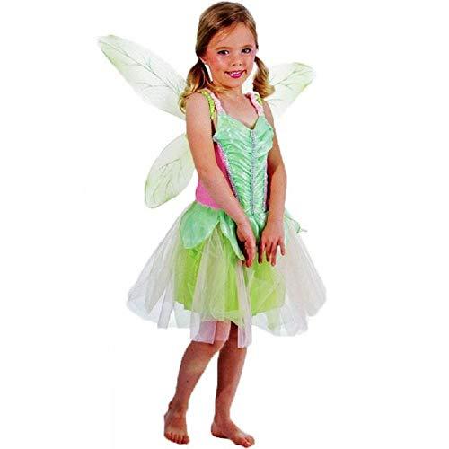 Maat s - 2/3 jaar - kostuum - vermomming - carnaval - halloween - fee - houten elf - trills - belletje - trilly - groene kleur - meisje tinker bell