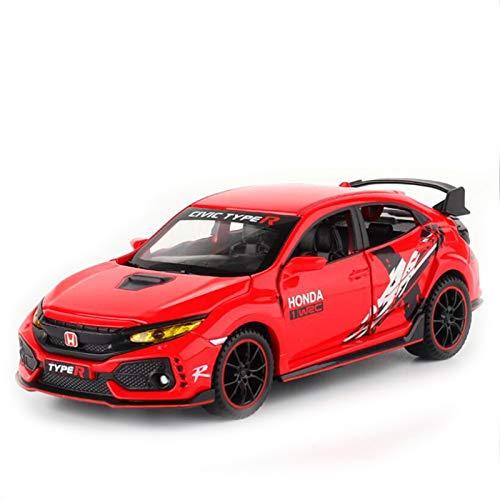 DXZJ Modelo de coche luz de sonido coche coche 1:32 para Honda Civic TYPE R Mugen RR aleación modelo de coche decoración tirar atrás juguete coche para regalos niño (color rojo