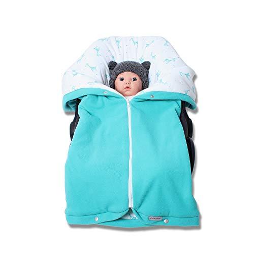 Autositzdecke, Babyschalendecke, Baby Fußsack, Kindersitzdecke, Buggy Decke von HOBEA-Germany im Design: türkis mit Giraffen