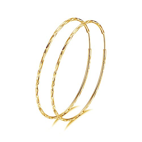 925 Sterling Silber Kreis Endless Creolen Ohrringe für Frauen Groß Golden 20 30 40 50 60mm