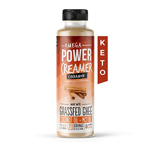 Omega PowerCreamer - Cinnamon Keto Coffee Creamer with MCT Oil - Grass-fed Ghee, Organic Coconut Oil, Stevia Powder | Liquid Blend | Supports Weight Loss & Energy | Low Carb, Sugar Free (20 Servings)