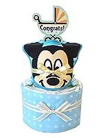 おむつケーキ ディズニー ミッキーマウスのスタイ付き フェイスアップ 2段 男の子用 ck-267 (メリーズM)
