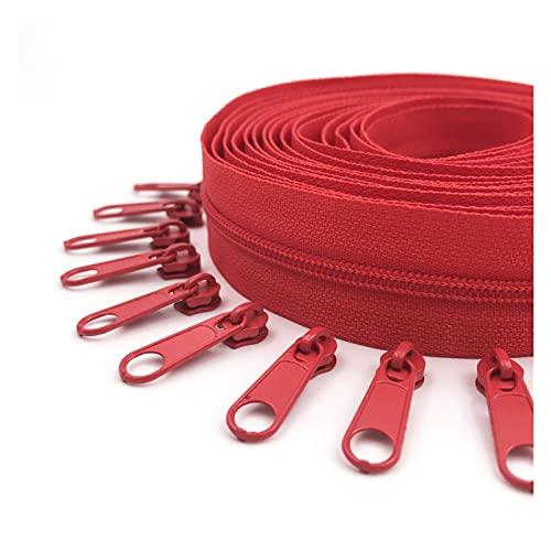 FRSDMY 5 Metros de Cremalleras de bobinas, Control Deslizante de Cremallera de 10 Piezas for Carteras, Bolsas y Otros proyectos de Costura, Juego de reparación (Color : 162 Atom Red)