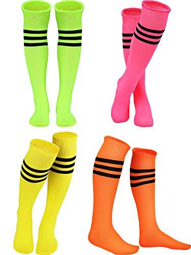 4 Pairs Neon Color Striped Knee Socks High Socks for Women Girls