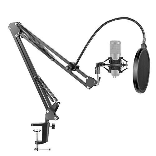 Neewer NB-35 - Soporte de tijera con agarre de clip para micrófono, pinza para montaje en mesa y filtro pop NW (B-3), parabrisas y juego de instalación de micrófono de metal