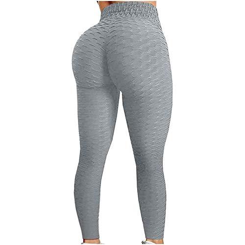 Pantalones de Yoga de Alta Espera Leggings con Control de Barriga y Levantamiento de Glúteos Leggings Elásticos de Levantamiento de Cadera para Correr Fitness Booty Tights (Color : Gray, Size : S)