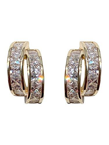 Exquisitos pendientes de diamantes de imitación pendientes de anillo doble simple pendientes de plata de ley para mujer
