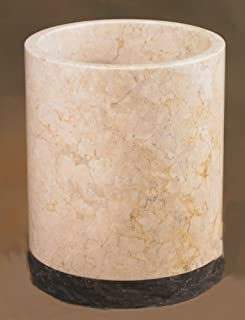 Creative Home Champagne Marble Stone Waste Basket, Trash Can-Inverary Banded Collection