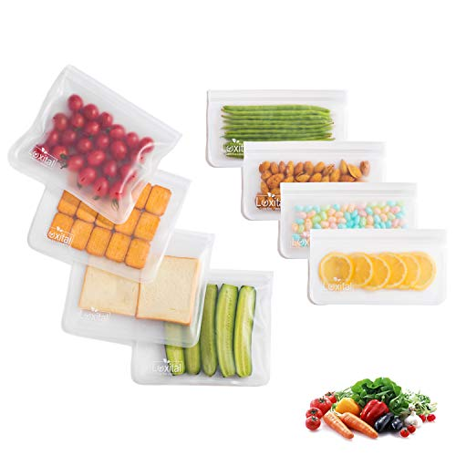 Reusable Sandwich Bags,Luxital 8 Pack Ziplock Storage Bags (4 Lunch Bags 4 Snack Bags), EXTRA THICK Grade PEVA Leakproof Lunch bag for Hamburger   Marinate Meats   Fruit   Sandwich   Snack   Travel