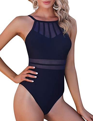 Aibrou Bañadores para Mujer,2021 Trajes de Baño de Una Pieza Correas traseras Vendaje Bañadores Sexys Cuello en Redondo Playa Monokin (Azul Marino, XXL)